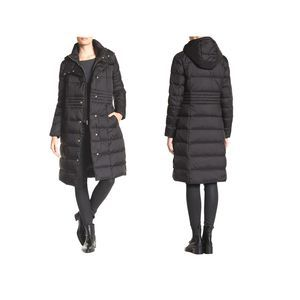 Cole Haan Black Hooded Quilted Down Long Coat